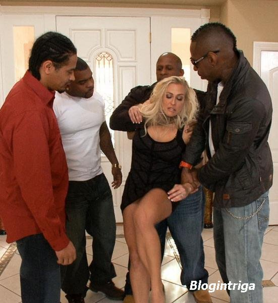 Angel Allwood - Busty MILF Orders Four Big Black Cocks to Fuck While her Hu ...