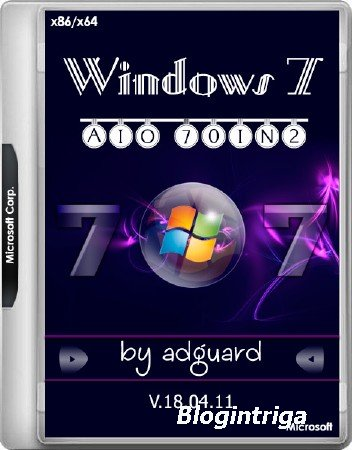 Windows 7 SP1 x86/x64 With Update 7601.24106 AIO 70in2 v.18.04.11 (RUS/ENG/2018)