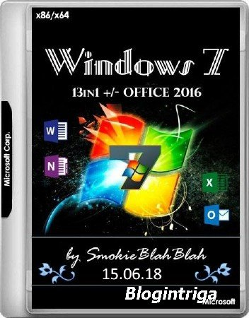 Windows 7 SP1 x86/x64 13in1 +/- Office 2016 by SmokieBlahBlah 15.06.18 (RUS/ENG/2018)